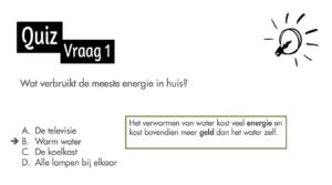 Deze quiz voor basisscholen valt volgens Shell onder 'techniekonderwijs' over de energietransitie. Het is onderdeel van een lespakket door een medewerker van Shell. Landelijk programma.