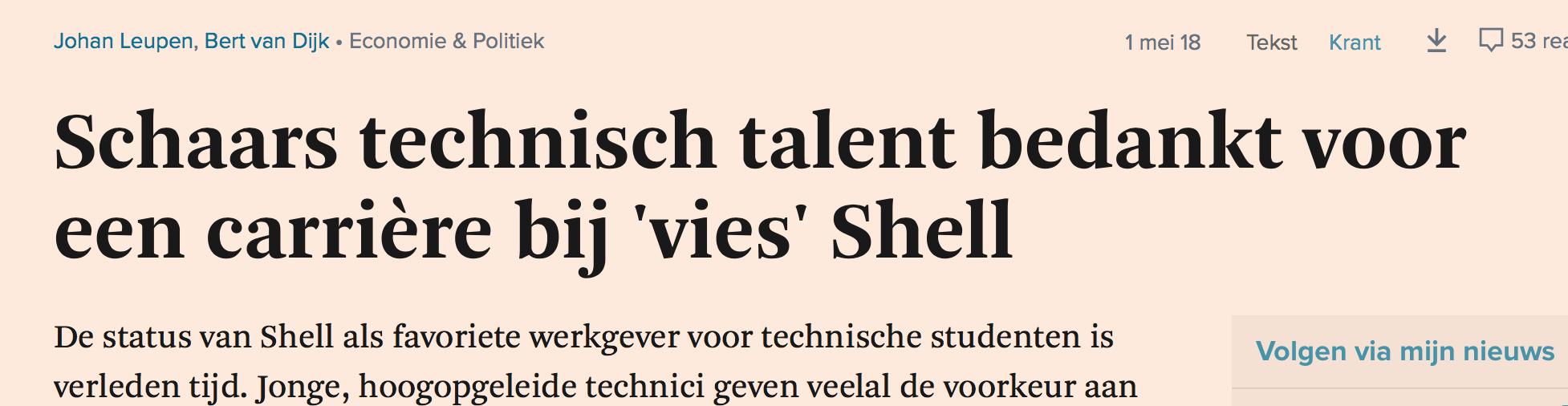 FD: technisch talent bedankt voor carriere bij vies Shell