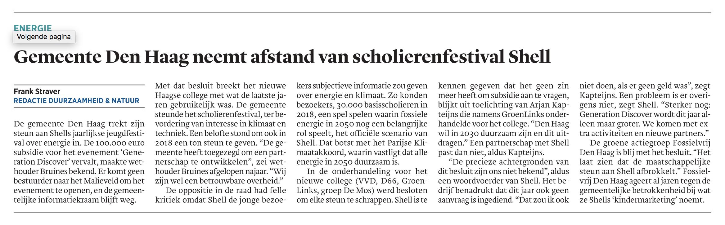 Trouw Den Haag neemt afstand van scholierenfestival Shell