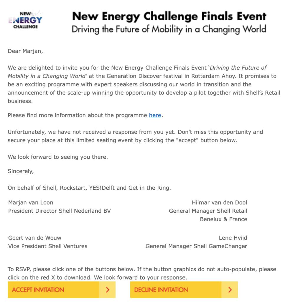 Uitnodiging van Shell aan Marjan Minnesma voor event Generation Discover
